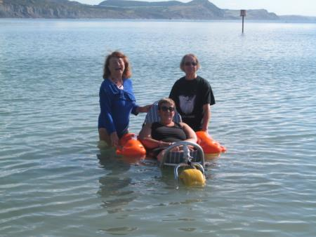 Floating wheelchair is launched in Lyme Regis
